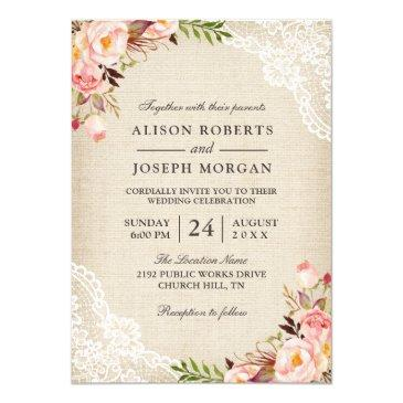 rustic country classy floral lace burlap wedding