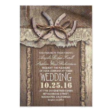 rustic country horseshoes and burlap lace wedding