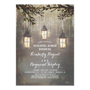 rustic country lanterns garden rehearsal dinner invitations