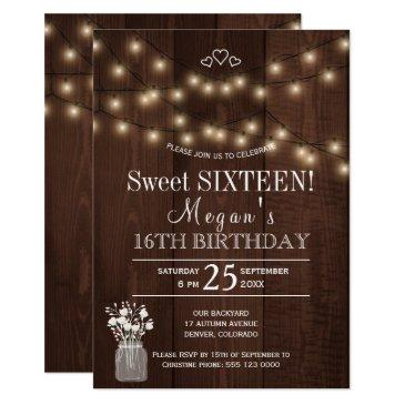 rustic country lights barn wood sweet sixteen invitations