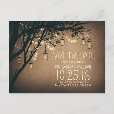 rustic country lights mason jars save the date announcement post
