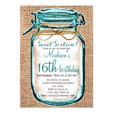 Small Rustic Country Mason Jar Birthday Invitation Front View