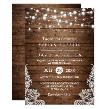 rustic country wood twinkle lights lace wedding