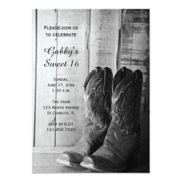 Small Rustic Cowboy Boots Sweet 16 Barn Birthday Party Invitations Front View