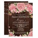 rustic floral blush peonies barnwood sweet sixteen invitation
