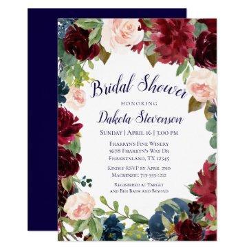 rustic floral | navy burgundy wreath bridal shower invitation