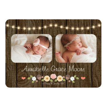 Small Rustic Floral String Of Lights Birth Announcements Back View