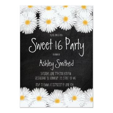 rustic garden watercolor daisy chalkboard sweet 16 invitation