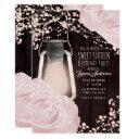 rustic glow lantern baby pink roses sweet 16 invitation