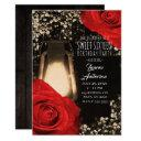 rustic glow lantern & bright red roses sweet 16 invitation