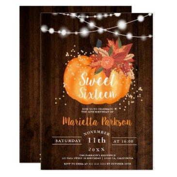 rustic gold chic floral wood lights fall sweet 16 invitation