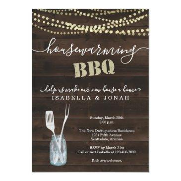 rustic housewarming bbq party invitation