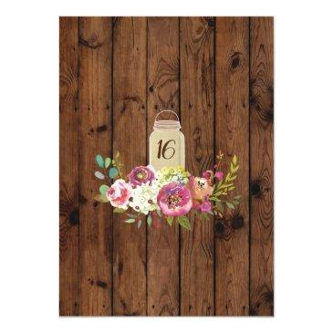 Small Rustic Jars Sweet 16 Party Wood Floral Lights Invitation Back View