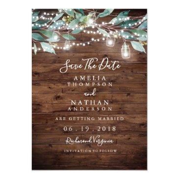Small Rustic Leaf String Lights Save The Date Front View