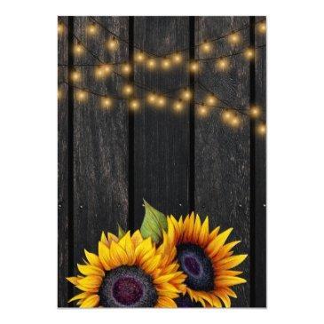 Small Rustic Lights Sunflower Barn Wood Wedding Invitations Back View