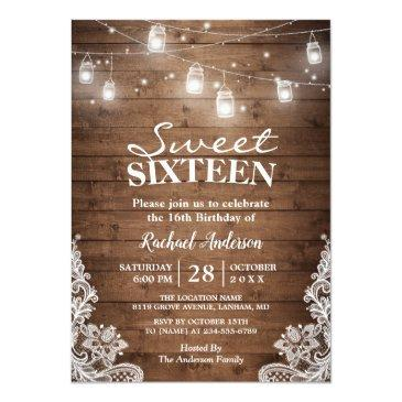 Small Rustic Mason Jar Lights Sweet 16 Birthday Party Invitations Front View