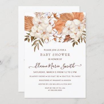 rustic pampas gender neutral drive baby shower invitation