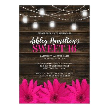 Small Rustic Pink Daisy Mason Jar Lights Sweet 16 Invitation Front View