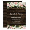 rustic pink floral string lights sweet 16 invitation