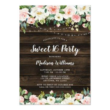 Small Rustic Pink Floral String Lights Sweet 16 Invitation Front View