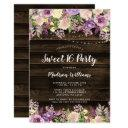 rustic purple floral string lights sweet 16 invitation