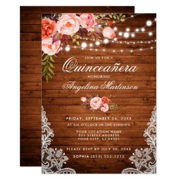 rustic quinceanera wood lights lace coral floral invitation