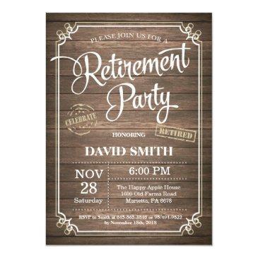 rustic retirement party invitation invitations wood