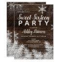 rustic snowflakes wood winter sweet 16 invitations