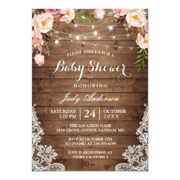 Small Rustic String Lights Lace Floral Baby Shower Invitations Front View