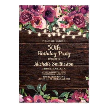 rustic string lights purple floral 50th birthday invitation