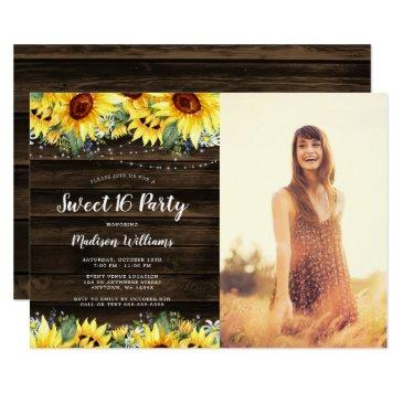 rustic sunflower floral lights sweet 16 photo invitation
