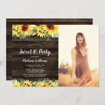rustic sunflower floral lights sweet 16 photo invitation