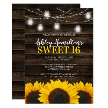 rustic sunflower mason jar lights sweet 16 invitation