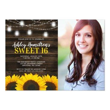 Small Rustic Sunflower Mason Jar Lights Sweet 16 Photo Invitation Front View