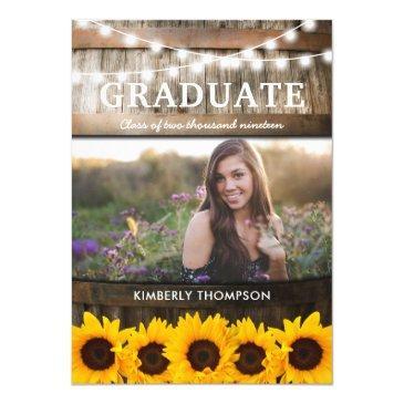 rustic sunflower photo 2019 graduation party invitation
