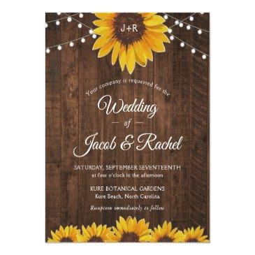 Small Rustic Sunflower String Lights Wedding Invitation Front View