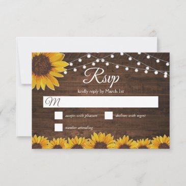 rustic sunflower string lights wedding rsvp invitations