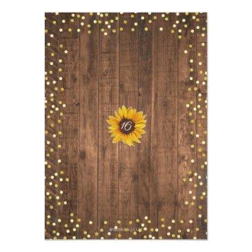 Small Rustic Sunflower Sweet 16 Birthday Invitation Back View
