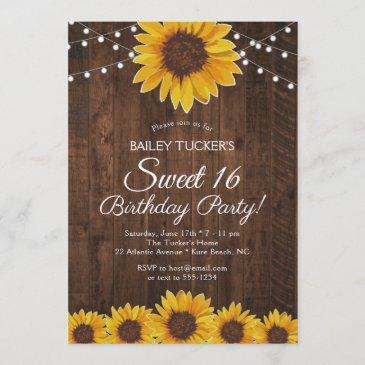 rustic sunflower sweet 16 birthday string lights invitation
