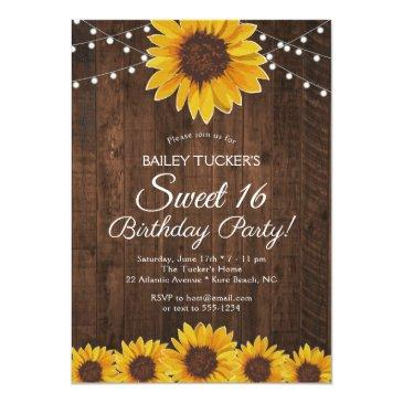Small Rustic Sunflower Sweet 16 Birthday String Lights Invitation Front View