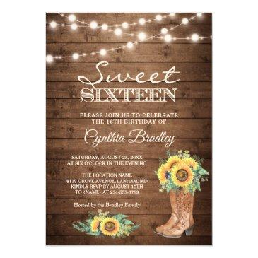 rustic sunflowers boots cowgirl sweet sixteen 16 invitation