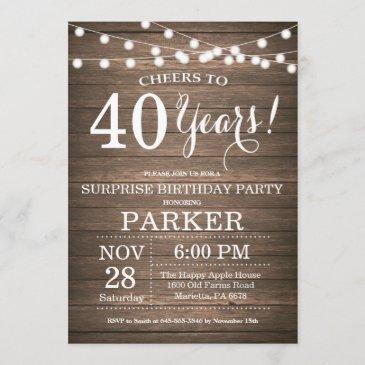 rustic surprise 40th birthday invitation wood