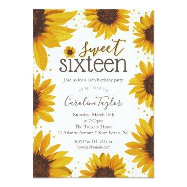 Small Rustic Sweet 16 Birthday Sunflowers Invitation Front View