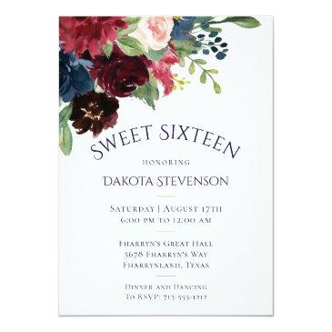 Small Rustic Sweet 16 Floral | Navy Burgundy Boho Chic Invitation Front View