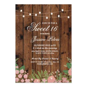 Small Rustic Sweet 16 Party Coral Floral Wood Invite Front View