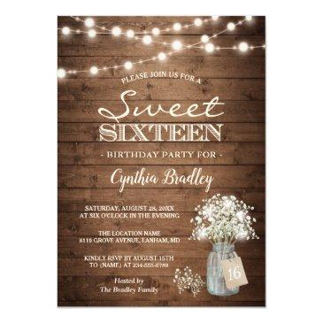 Small Rustic Sweet Sixteen Baby's Breath String Lights Invitations Front View