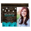 rustic teal daisy mason jar lights sweet 16 photo invitation