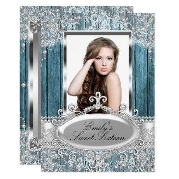 rustic vintage pearl lace & wood photo sweet 16 invitations