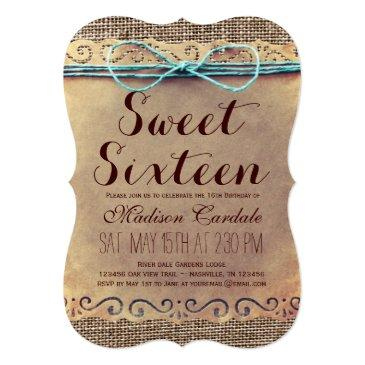 Small Rustic Vintage Sweet Sixteen Birthday Invitations Front View