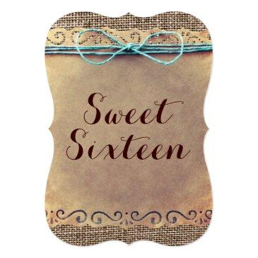 Small Rustic Vintage Sweet Sixteen Birthday Invitations Back View